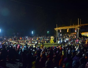 Evening chau programme during Putul Nach Mela 2017 at Muragachha, Nadia