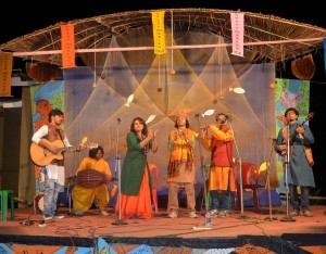 Musical performance by urban artists of Kolkata at Sunderban Folk Festival