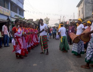 Procession of Chau Mask Festival at Charida, Purulia