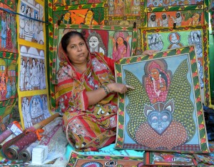 Scroll pot painter at Patachitra Mela, Chandipur