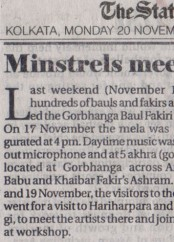 News clippings of Baul Fakiri Utsav 2017 Gorbhanga_The Statesman 20 Nov 2017