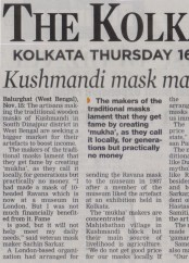 News clippings of Kushmandi Wooden Musk 2017_The Kolkata Age 16 Nov 2017