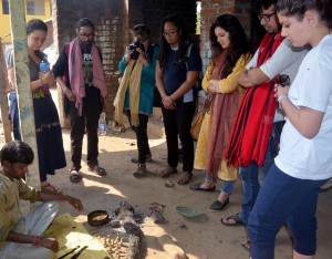 Smithsonian team visiting the dokra village of Bikna, Bankura