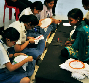 Kantha artists in workshop