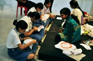 Kantha artists in workshop