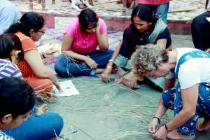 Sitalpati artist displays weaving technique